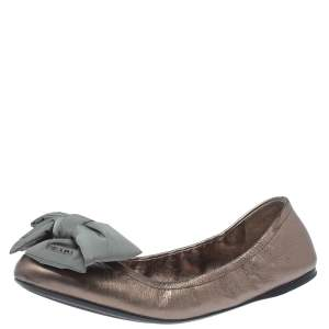 Prada Sport Metallic Bronze Leather Bow Detail Scrunch Ballet Flats Size 40