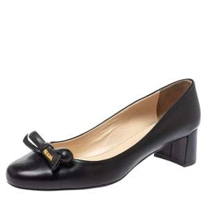 Prada Sports Black Leather Bow Block Heel Round Toe Pumps Size 39