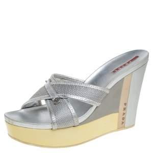 Prada Sports Silver Mesh And Leather Trim Cross Strap Wedge Platform Sandals Size 39