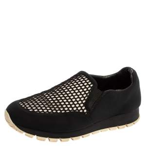 Prada Sport Black Mesh And Stretch Fabric Slip On Sneakers Size 38.5