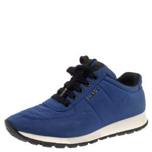 Prada Sport Blue Nylon Low Top Sneakers Size 37.5