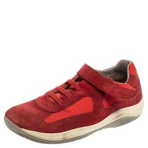 Prada Sport Red Suede and Nylon Low Top Sneaker Size 34