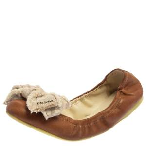 Prada Sport Brown/White Leather And Canvas Scrunch Bow Ballet Flats Size 37.5