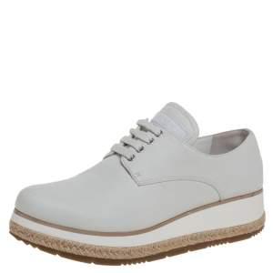 Prada Sport Light Grey Leather Espadrille Derby Sneakers Size 36