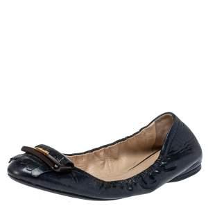 Prada Sport Navy Blue Patent Leather Fringe Detail Scrunch Ballet Flat Size 40