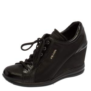 Prada Sport Black Nylon And Leather Wedge Lace Up Sneakers Size 40