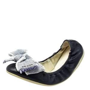 Prada Sport Dark Blue Leather Bow Scrunch Ballet Flats Size 36