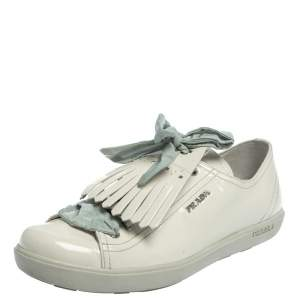Prada Sport Off White Patent Leather Fringe Detail Low Top Sneakers Size 41