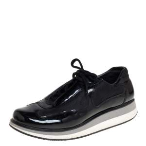 Prada Sport Black Patent Leather And Mesh Low Top Sneakers Size 39.5