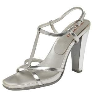 Prada Sport Silver Metallic Leather T-Strap Sandals Size 37