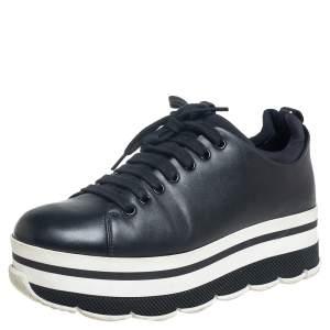 Prada Sport Black Leather Platform Sneakers Size 38