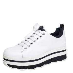 Prada Sport White Leather Platform Sneakers Size 38