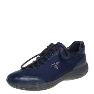 Prada Sport Blue Nylon And Leather Low Top Sneakers Size 39