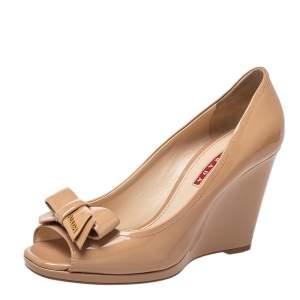 Prada Sport Beige Patent Leather Bow Peep Toe Wedge Pumps Size 38
