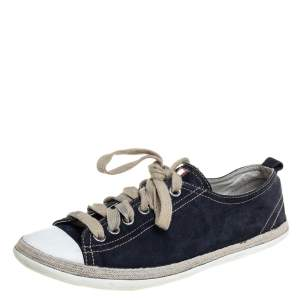 Prada Sport Navy Blue Suede And Rubber Cap Toe Low Top Sneakers Size 37.5