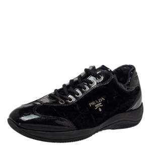 Prada Sports Black Patent Leather And Velvet Low Top Sneakers Size 37