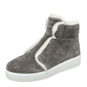 Prada Sport Grey Suede Fur Lined High Top Sneakers Size 37