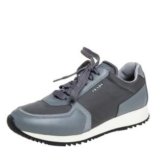 Prada Sport Grey Nylon And Leather Low Top Sneakers Size 39.5
