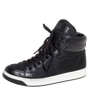 حذاء رياضي برادا سبورت برقبة عالية جلد ونايلون أسود مقاس 40