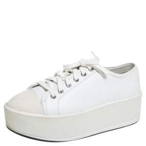 Prada Sport White Leather Platform Low Top Sneakers Size 37