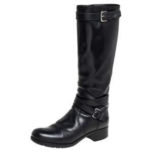 Prada Sport Black Leather Knee Length Boots Size 37
