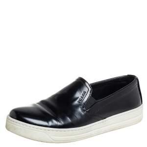 Prada Sport Black Leather Slip On Sneakers Size 36.5
