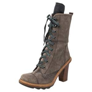 Prada Sport Grey Suede Block Heel Lace Up Mid Calf Boots Size 37.5