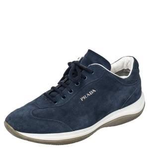 Prada Sport Blue Suede Low Top Sneakers Size 36.5