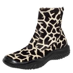 Prada Sport Brown/White Leopard Print Calf Hair High Top Sneakers Size 39