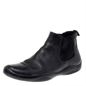 Prada Sport Black Leather Chelsea Ankle Boots Size 42