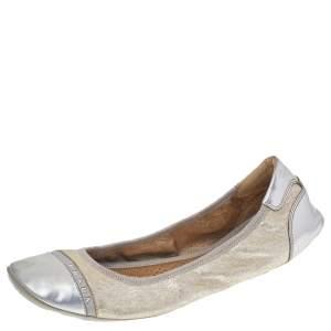 Prada Sport Gold/Silver Leather Scrunch Ballet Flats Size 39.5