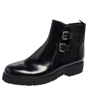 Prada Sport Black Glossy Leather Ankle Length Boots Size 40
