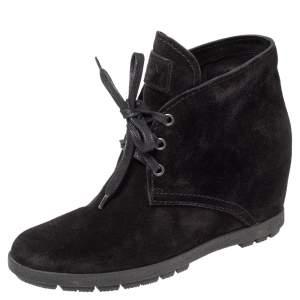 Prada Sport Black Suede Wedge Sneakers Size 36.5