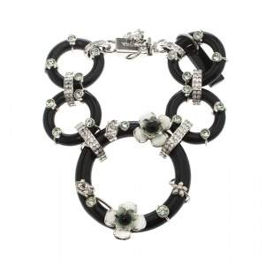 Prada Flower Power Black Plexiglas Crystal Floral Bedecked Link Bracelet