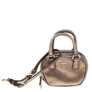 Prada Metallic Saffiano Leather Purse Key Chain