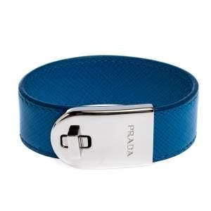 Prada Blue Leather Silver Tone Turn-Lock Bracelet M