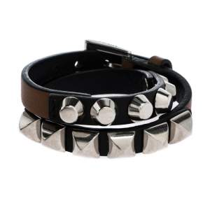 Prada Brown Leather Studded Silver Tone Double Wrap Bracelet S