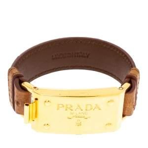 Prada Brown Ostrich Gold-Plated Bracelet 17CM