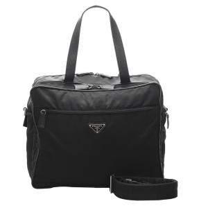 Prada Black Tessuto Nylon Large Travel Bag