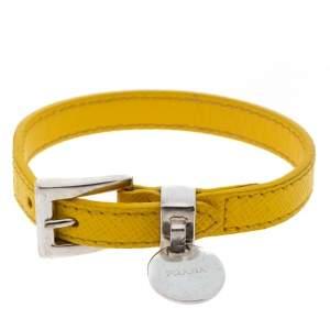 Prada Yellow Saffiano Leather Silver Tone Bracelet