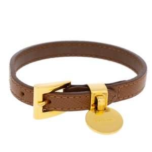 Prada Caramel Saffiano Leather Gold Tone Bracelet