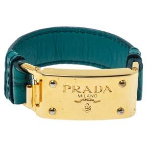 Prada Green Crocodile Leather Gold Tone Bracelet