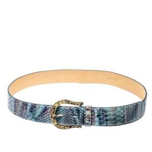 Prada Blue Python Buckle Belt Size 90CM