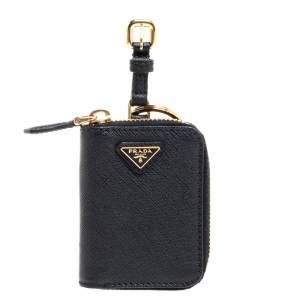 Prada Black Leather Keychain Wallet