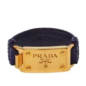 Prada Purple Ostrich Leather Gold Tone Bracelet