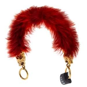 Prada Red Fur Tiger Head Bag Strap