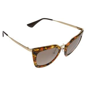 Prada Orange with Gold Havana/  Grey Gradient SPR53S Cat Eye Sunglasses