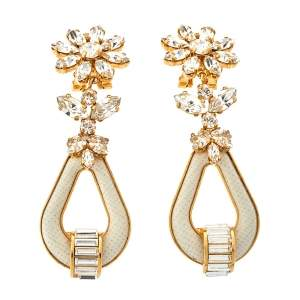 Prada Crystal & Leather Drop Clip On Earrings