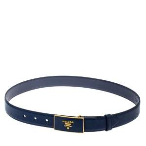 Prada Blue Saffiano Leather Buckle Belt 80CM