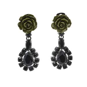 Prada Green Resin Rose Crystal Clip On Drop Earrings